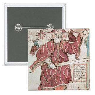 Odin med hans två kråkor, Hugin och Munin Standard Kanpp Fyrkantig 5.1 Cm