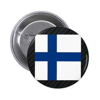 Officiell Finland flagga på randar Standard Knapp Rund 5.7 Cm