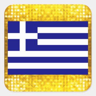 Officiell grekisk flagga fyrkantigt klistermärke