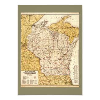 Officiell järnvägkarta av Wisconsin (1900) 12,7 X 17,8 Cm Inbjudningskort