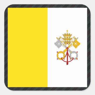 Officiell Vatican City flagga på randar Fyrkantigt Klistermärke
