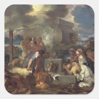 Offret av Noah, c.1640 Fyrkantigt Klistermärke