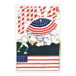 Ofog för smällare för US-flaggafyrverkerier Fototryck