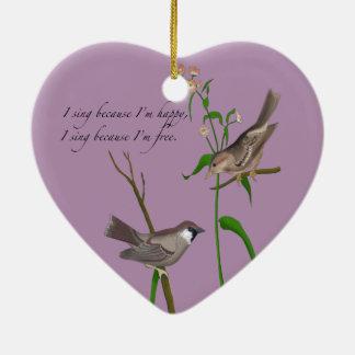 Öga på sparrowen julgransprydnad keramik