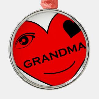 Ögakärlek min mormor julgransprydnad metall