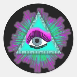 Ögat ser dig! runt klistermärke