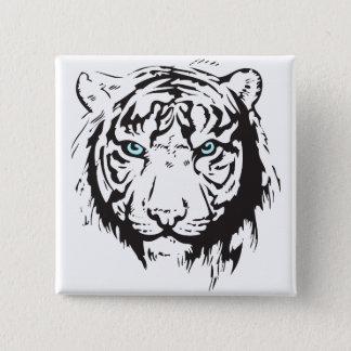Ögon för tigerhuvudblått standard kanpp fyrkantig 5.1 cm