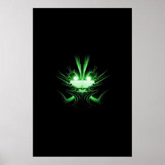 Ögon för w för grön främmande drake glödande poster