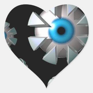 Ögon i utrymme hjärtformat klistermärke