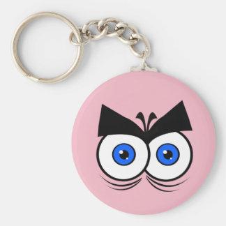 Ögon knäppas Keychain Rund Nyckelring