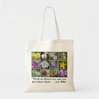 Ogräs är totot för blommor för budget tygkasse