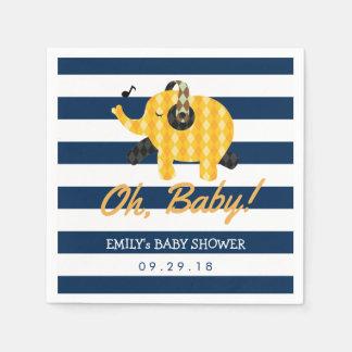 Oh baby shower för randar för babyelefant marinblå papper servetter