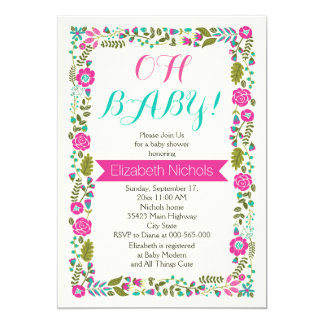 Oh baby showeraqua, rosa modern blom- gräns 12,7 x 17,8 cm inbjudningskort