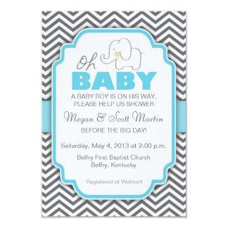 Oh babyelefant - blått- & gråttbaby showerinbjudan 8,9 x 12,7 cm inbjudningskort