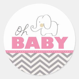 Oh babyelefant - rosa baby runda klistermärken