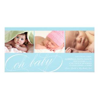 Oh för blåttfödelse för baby   meddelande fotokort