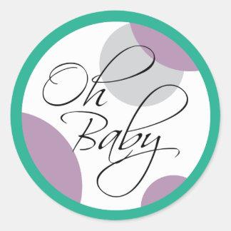 Oh för genderneutralt för baby Posh baby shower Runt Klistermärke