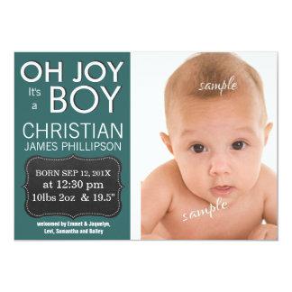 Oh glädje är det en POJKE! Nyfödd bebis Personliga Inbjudningskort