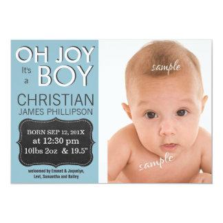 Oh glädje är det en POJKE! Nyfödd bebis Anpassade Inbjudan