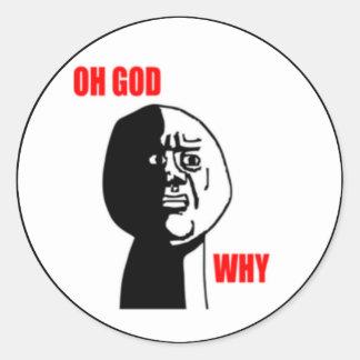 Oh gud därför komiskt vända mot runda klistermärken