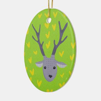 Oh hjort! Julprydnad Ovalformad Julgransprydnad I Keramik