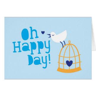 Oh lyckligt dagkort och produkter med gullig hälsningskort