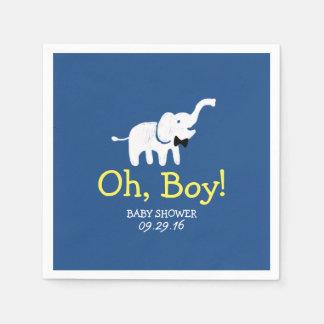 Oh marinblå baby shower för pojkeelefant papper servetter