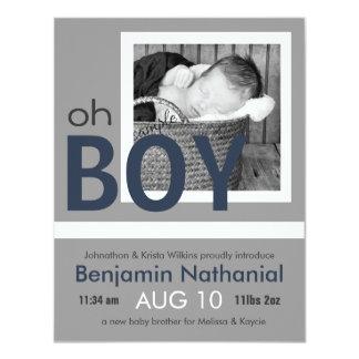 Oh meddelande för födelse för pojkenyfödd 10,8 x 14 cm inbjudningskort