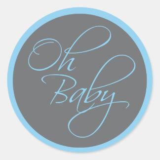 Oh Posh baby shower för baby för pojke Runt Klistermärke