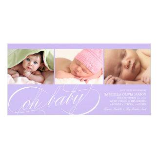 Oh purpurfärgat födelsemeddelande för baby | fotokort