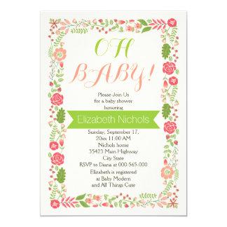 Oh rosa älskvärd blom- gräns för baby showerkorall 12,7 x 17,8 cm inbjudningskort