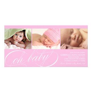 Oh rosa födelsemeddelande för baby   fotokort