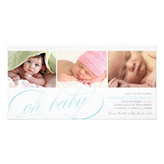 Oh skrivar blått för baby   födelsemeddelande fotokort