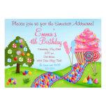 Oh sött inbjudningar för muffin för godislandfödel