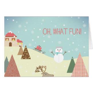 Oh vilken roliga snögubbehelgdagjulkort hälsningskort
