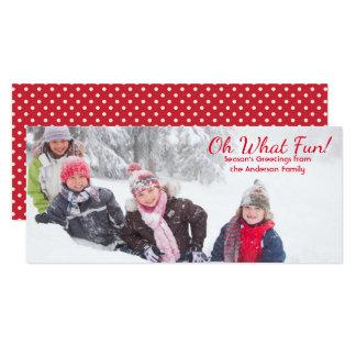 Oh vilket röda roliga foto pricker - fotokort 10,2 x 23,5 cm inbjudningskort