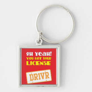 Oh yeah! du fick din licens! DR1VR Fyrkantig Silverfärgad Nyckelring