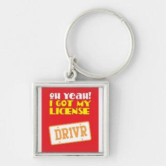 Oh yeah! Jag fick min licens! DR1VER Fyrkantig Silverfärgad Nyckelring
