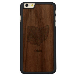 Ohio karta carved valnöt iPhone 6 plus skal