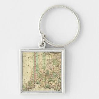 Ohio och Indiana 2 Fyrkantig Silverfärgad Nyckelring