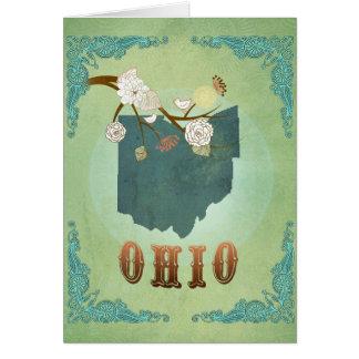 Ohio statlig karta - grönt hälsningskort