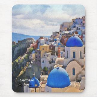 Oia Santorini. Greece.Oil-målning. Gåva Mousepad Musmatta