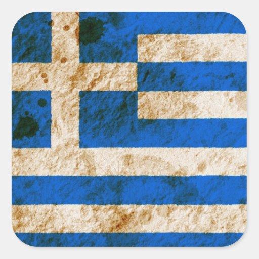 Ojämn grekisk flagga fyrkantiga klistermärken