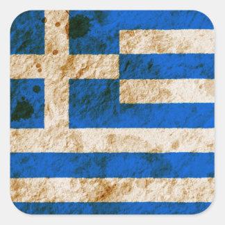 Ojämn grekisk flagga fyrkantigt klistermärke