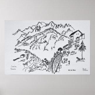 Ojämn Val d'Asco | Corsica, frankrike Poster