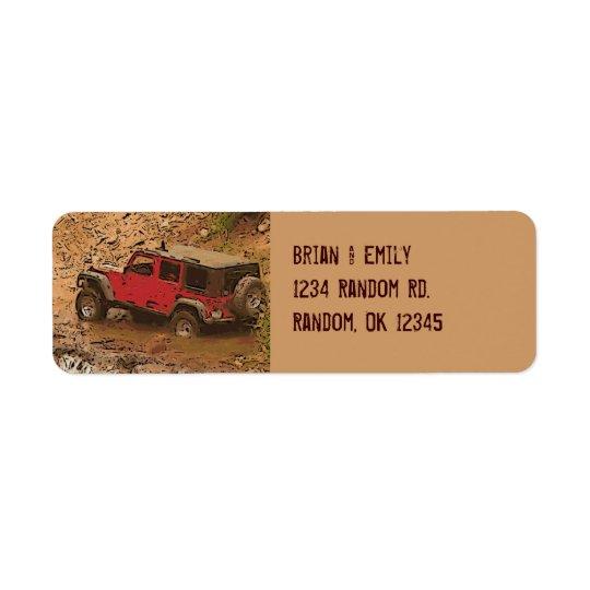 Ojämna röda leriga etiketter för returadress etikett