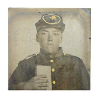 Okända den keramiska Confederat soldaten belägger Kakelplatta