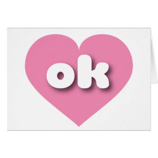 Oklahoma rosa hjärta - mini- kärlek hälsningskort