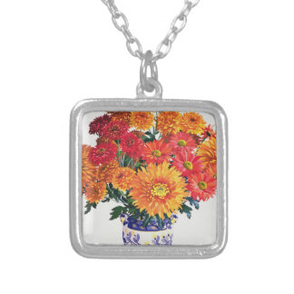 Oktober Chrysanthemums Silverpläterat Halsband