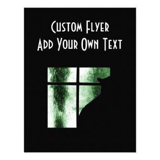 Oktober duschar kattsilhouetten på fönstergrönt custom flyer
